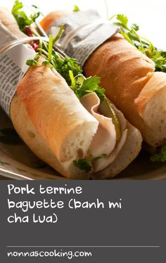 Pork terrine baguette (banh mi cha lua) | Nothing beats a Vietnamese baguette for lunch. Here, Luke Nguyen shares a recipe that shows you how to make pork terrine from scratch, but you could buy it ready made, or use barbecued pork or chicken. Just add the freshest of herbs and vegies and tuck in. Barbecue Recipes, Pork Recipes, Veggie Recipes, Chicken Recipes, Cold Lunch Recipes, Cold Lunches, Punch Recipes, Shake Recipes, Baguette Recipe