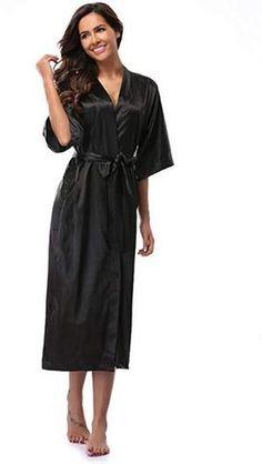 Women Silk Satin Long Wedding Bride Bridesmaid Robe Kimono Robe Feminino  Bath Robe Large Size XXXL 1ac8b3556