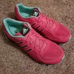 8.5 Raspberry & Mint Green ADIDAS Run Smart euc These shoes kinda remind me of a water melon.  They are mainly Raspberry with Gray Adidas 3 Stripe Symbol. The sole of the shoes & lining are mint green.  I am a collector of sneaker,  tennis & athletic shoes.  These shoes have been worn less than 5 times.  I have many other athletic shoes listed as well,  No box or tags. Adidas Shoes Athletic Shoes