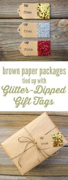 Glitter-Dipped Gift Tags A simple way to add some rustic glam goodness to your brown paper packages this holiday season. I just love how easy this tutorial is! Noel Christmas, All Things Christmas, Diy Christmas Tags, Holiday Gift Tags, Christmas Paper, Rustic Christmas, Holiday Crafts, Holiday Fun, Navidad Diy