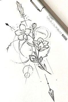 Skull Rose Tattoos, Arrow Tattoos, Flower Tattoos, Body Art Tattoos, Tattoo Drawings, Tattos, Sleeve Tattoos, Piercings, Piercing Tattoo