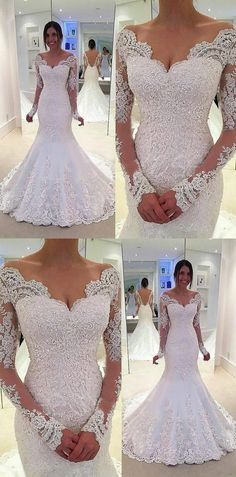 elegant mermaid wedding dresses with sleeves, v neck wedding dresses with appliques, dream bridal dresses with sleeves #wedding #weddingdress