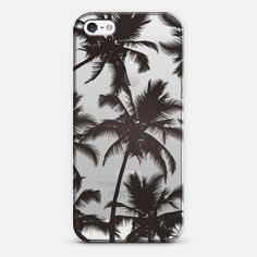 Modern Black Tropical Palm Trees Transparent by EightFour - New Standard Case