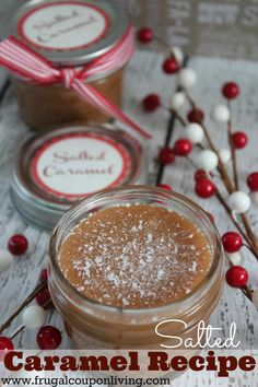 Easy Homemade Salted Caramel Recipe with 5 Ingredients with FREE Tag #recipe #saltedcaramel