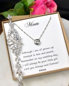 Personalized Bridesmaid Gift Earrings Necklace SetMother Of Bride Crystal Wedding Jewelry Set Bridal Studs Bracelet