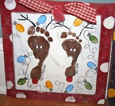 Footprint Reindeer along with many other adorable footprint ideas
