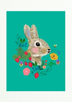 SPRING SALE Rabbit with flowers and berries-art print by sevenstar
