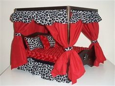 Dog Clothing One stop shop for designer dog clothes and accessories - Red Giraffe Canopy Luxury Bed puppy Beds, Blankets Cute Dog Beds, Puppy Beds, Diy Dog Bed, Pet Beds, Doggie Beds, Red Bedding, Luxury Bedding, Bedding Sets, Dog Furniture