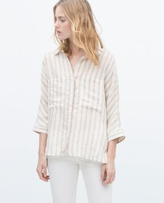 Image 3 of STRIPED SHIRT WITH KIMONO SLEEVES from Zara