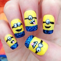 Glittery 3D ;Despicable Me  Inspired Nails