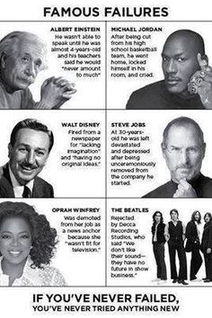 Failure can learn to better things, challenge yourself...