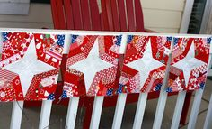 Red, White & Blue spider web blocks at Quilt Taffy