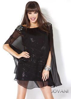 #Jovani style 5404 #JovaniFashions #LittleBlackDress #LBD #chiffon #crystal #sequins #embellished #dress