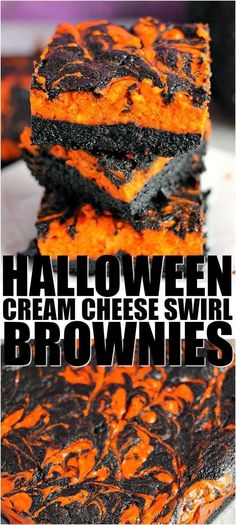 Halloween Swirl Cream Cheese Brownies have a layer of rich, dark chocolate brownie topped with a layer of orange cheesecake then swirled together for a spooky treat. These are sure to be a perfect dessert treat for everyone at your Halloween party! Postres Halloween, Recetas Halloween, Halloween Appetizers, Halloween Desserts, Halloween Halloween, Halloween Cupcakes, Halloween Science, Halloween Decorations, Brownie Toppings