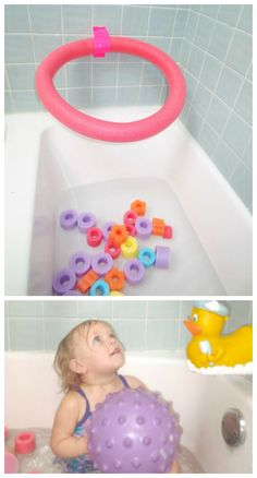 Ball Hoops made from pool noodles - use them in the bath, on back of doors, on walls around the house, outside, anywhere! Great for basketball and other fun ball games