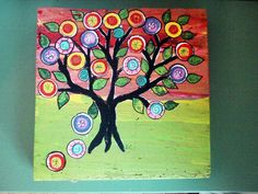 Mexican Folk Art  Penny Tree Tree of life Happy Tree   by icColors, $45.00