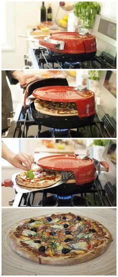 Cook a Perfect Pizza Indoors on Your Gas Stovetop. Cool Kitchen Gadgets, Home Gadgets, Cooking Gadgets, Cooking Tools, Kitchen Items, Cool Kitchens, Cooking Recipes, Kitchen Tools, Kitchen Appliances