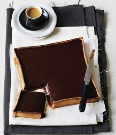 Chocolate-Caramel Tart via Gourmet Traveller #recipe