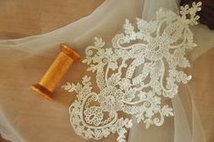 ivory lace applique for wedding gown veil bodice by Retrolace