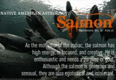 Native American Zodiac Sign - Salmon - Jul 22 – Aug 21 - Electric, focused, intuitive, and wholly creative, the Salmon is a real live-wire.  A natural motivator, the Salmon is stable, calm, sensual, and giving. Left to his/her own devices, those that bear this Native American animal symbol can be egotistical, vulgar, and intolerant of others.