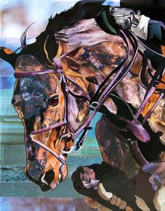 """Horse Jumping by Marjorie Pesek . This technique is what she calls """"Layered Imagery"""" and is not a painting."""