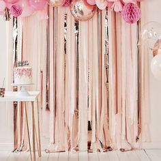 Luxe Pink And Rose Gold Party Streamers Backdrop