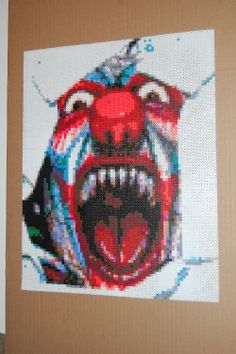 scary clown perler bead art made by me amanda wasend