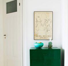 emerald green pops against white