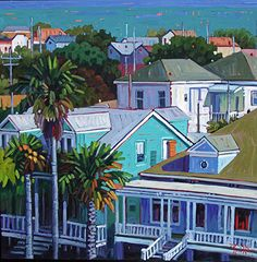 Three Palms and an Ocean View by Rene Wiley - 30 x 30 by Rene' Wiley Gallery  ~  x