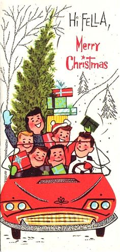 50s fun bringing home the Christmas tree. www.rubylane.com @rubylane Follow us on Facebook http://www.facebook.com/rubylane #vintage #antiques #jewelry