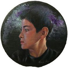 Retrato al óleo en pizarra, 25 cm diámetro, Carmen Rey, 2018.