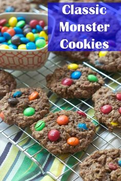 Monster Cookies with Chocolate Peanut Butter via Food Fanatic -- LOVE! Drop Cookies, Yummy Cookies, Cupcake Cookies, Cupcakes, Easy Cookie Recipes, Cookie Desserts, Sweet Recipes, Dessert Recipes, Chocolate Peanut Butter