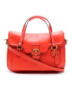 Hot Orange Eva Flap Crossbody Leather Satchel
