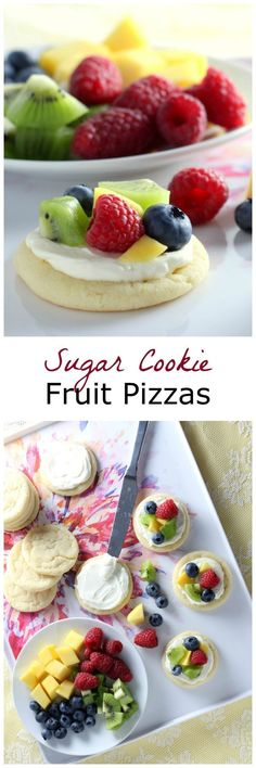 Mini Sugar Cookie Fruit Pizzas - Perfect for Easter Dessert or anytime  in Spring. #sugarcookies #baking #cookies #springdessert