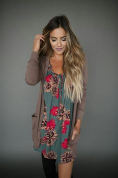 Long sweater Floral shirt