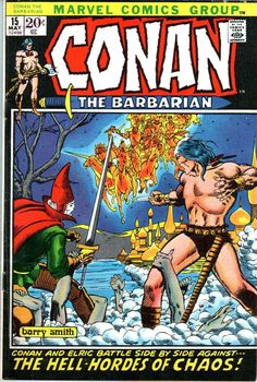 Conan the Barbarian v1 #15 marvel comic book cover art by Barry Windsor Smith
