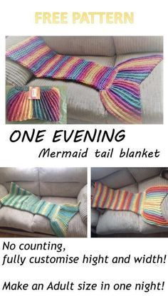 One evening Crochet Mermaid tail blanket pattern is part of Knitting and Crochet Patterns Mermaid Tails - Free Crochet pattern for a gorgeous Mermaid tail that can be made in one evening From a toddler in just 2 5 hours to an adult in(more ) Mermaid Tail Blanket Pattern, Crochet Mermaid Blanket, Crochet Blanket Patterns, Crochet Blankets, Mermaid Blankets, Crochet Afghans, Loom Patterns, Crochet Mermaid Tail Pattern, Sewing Patterns
