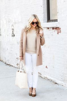 spring outfit // camel coat with white jeans and leopard pumps // @bowsandsequins