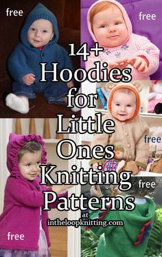 Knitting patterns for Hoodies for Babies and Children - hooded cardigans, sweaters, and more. Most patterns are free