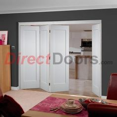 Doors can open majority left or right and towards or away from you. As usual....Free delivery is offered on this Nuvu Roomfold Shaker 1 panel white doorand frame set, these doors would be supplied without any decoration as is the oak frame without decoration and will therefore require finishing to your own tastes. The doors used areall 1981mm high and either 610mm or 686mmwide, this gives an overall opening requirement of 2078mm high and 2512mm or 2816mm wide, the ...