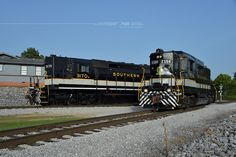 "Norfolk Southern's ""Southern"" SD40 number 3170 poses with Southern GP30 number 2594 at Tennessee Valley Railroad Museum's Grand Junction wye in Chattanooga, Tennessee. www.nscorp.com"