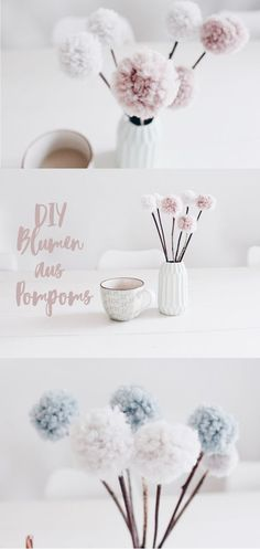 Pom Pom Flowers - Table Decoration with a Difference DIY DEKO - Flowers from Pompo . - Pom Pom flowers – table decoration with a difference DIY DEKO – Make flowers from pomp - Pot Mason Diy, Mason Jar Crafts, Pom Pom Flowers, Diy Flowers, Flower Diy, Diy Décoration, Easy Diy, Sell Diy, Diy Arts And Crafts