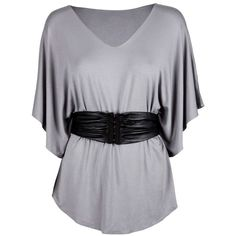 Bllack Noir Grey Jersey top with leather belt ❤ liked on Polyvore