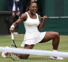 Defending champion Serena Williams reacts as she wins a point from Vera Zonareva, during the women's singles final on the Centre Court at the All England Lawn Tennis Championships at Wimbledon, Saturday, July Serena Williams Tennis, Venus And Serena Williams, West Palm Beach, Wimbledon Champions, Angeles, Professional Tennis Players, African American Artist, Tennis Stars, People Magazine