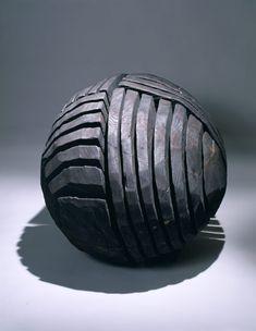 David Nash - Charred Celtic Bead II, 1991 oak (charred). 33 in (83.8 cm) diameter  |  http://www.lalouver.com/html/exhibition.cfm?tExhibition_id=198