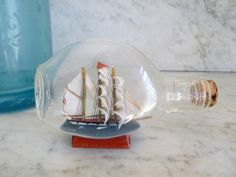 Vintage French Ship in a Bottle Model Ship by OneFairfaxRoad