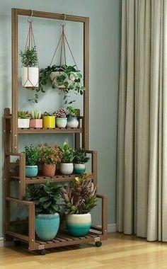 Plant Shelves Outdoor, Diy Hanging Shelves, House Plants Decor, Plant Decor, Indoor Garden, Indoor Plants, Indoor Outdoor, Balcony Herb Gardens, Diy Plant Stand