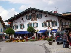 Oberammergau --- my son had his first taste of steak with green peppercorn sauce and as we ate we got to enjoy the cows coming down the street to their barn for milking.  Such fun eating on the patio.