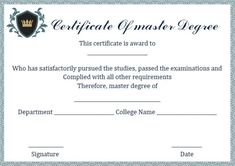 13 best masters degree certificate template images on pinterest in master degree diploma certificate template maxwellsz