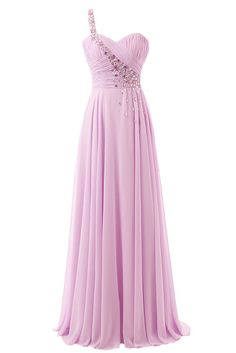 Ivydressing Women's Empire Sweetheart One Shoulder Ruffles Chiffon Prom Dress-26W-Peach. Floor length; open back. Beadings and rhinestones over the one shoulder strap. Concealed zipper. Drycleaning recommended. All products are subject to material objects because the shooting light and setting of your computer screen may cause slight color mismatches.